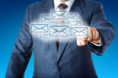 Business Man Touching A Cloud Of Many Email Icons Stock Illustration