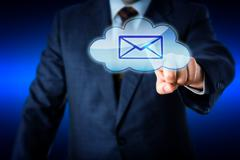 Business Man Touching Email In Blue Cloud Icon - stock illustration