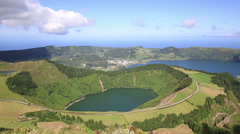 Beautiful lake of Sete Cidades, Azores, Portugal Europe Stock Footage