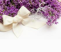 Illustration of bouquet from lilac lilies with frame Stock Photos