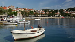 Boats in the harbor in Cavtat Croatia Stock Footage