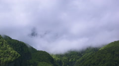 Timelapse view, Clouds, trees and mountains in the Swiss Alps Stock Footage