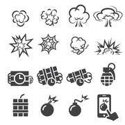 Blast icon set Stock Illustration