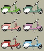 Vintage scooter on cappuccino background - stock illustration