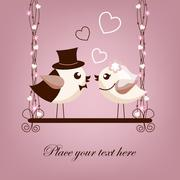 Two birds, bride and groom on the swings Stock Illustration