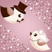 Bird's wedding Stock Illustration