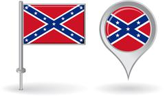 Confederate pin icon and map pointer flag. Vector - stock illustration