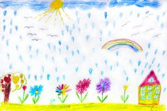Children's drawing of house flowers and rainbow Stock Photos