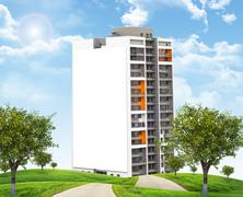 High-rise building under blue sky with road - stock illustration