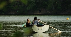Girls In A Boat 4k Stock Footage