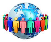Global communication internet concept - stock illustration