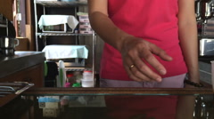 Pouring coffee onto ice in glass-Dolly shot Stock Footage