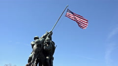 Iwo Jima Memorial Marine Corp close flag Washington DC 4K 039 Stock Footage
