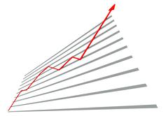 Diagram with red curve - stock illustration