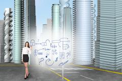 Stock Illustration of Business woman draw an icons