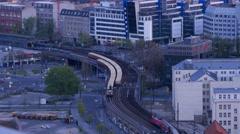 Berlin railway transportation at dusk 4k Stock Footage