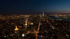 Timelapse from Empire State Building showing Manhattan at night Stock Footage
