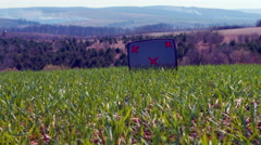 TV on green grass Stock Footage