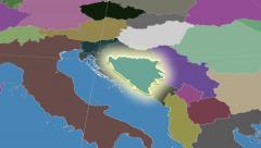 Bosnia And Herzegovina outlined and glowed. Neighbourhood. Administrative - stock footage