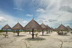 Maldives Beach Sand Parasol Sunshade Beach Umbrellas Tropical Tropic Stock Photos