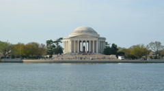 4K Jefferson Memorial and Tourists 3 - stock footage