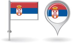 Serbian pin icon and map pointer flag. Vector Stock Illustration