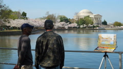 4K Artists on the Tidal Basin 3 - stock footage