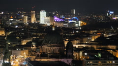 berlin skyline at night aerial view - stock footage