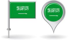 Saudi Arabian pin icon and map pointer flag. Vector - stock illustration
