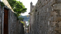 Tilt down In the street of the old town from Cavtat Croatia Stock Footage