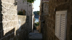 In the street of the old town from Cavtat Croatia Stock Footage