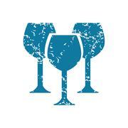 Grunge wine glass icon - stock illustration