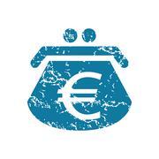 Grunge euro purse icon Stock Illustration