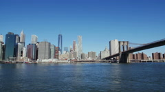 Timelapse of Manhattan and Brooklyn Bridge - stock footage