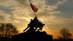 4K Marine Corps War Memorial Sunrise Silhouette 1 Stock Footage