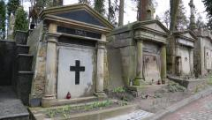 Old tombs on the Lychakiv Cemetery in Lviv, Western Ukraine Stock Footage