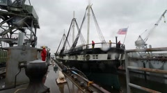 USS Constellation Enters Dry-Dock - stock footage