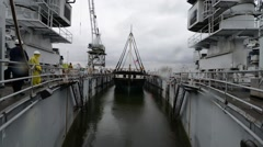 USS Constellation Enters Dry-Dock Stock Footage