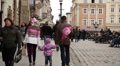 People on the Market Square near the Lviv Town Hall in Western Ukraine Footage