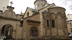 Armenian Cathedral of the Assumption of Mary in Lviv, Western Ukraine Stock Footage