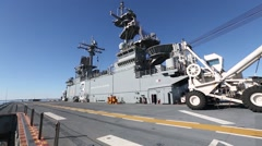 Footage of the USS Kearsarge (LHD-3) as it sits in its home por Stock Footage