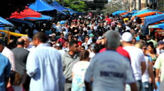 Crowd - Brazilian People  - Farmer market, Sao Paulo, Brazil slow - stock footage