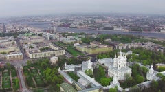 Aerial View near Smolny Cathedral Stock Footage