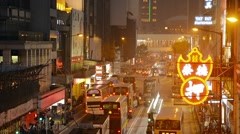 HONG KONG, CHINA - CIRCA JAN 2015: Bright neon signs and sodium vapor street Stock Footage