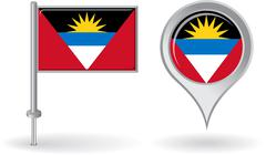 Antigua and Barbuda pin icon, map pointer flag. Vector Stock Illustration