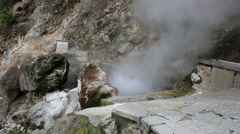 Hot spring with boiling water at the Caldeiras in the city of Furnas - stock footage