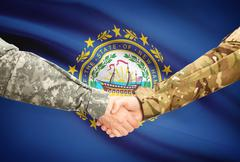 Stock Illustration of Soldiers handshake and US state flag - New Hampshire