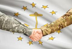 Stock Illustration of Soldiers handshake and US state flag - Rhode Island