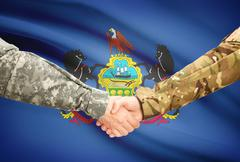 Stock Illustration of Soldiers handshake and US state flag - Pennsylvania