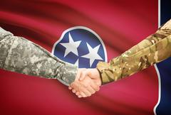 Stock Illustration of Soldiers handshake and US state flag - Tennessee